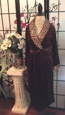 VTG Secret Treasures Wom S/M Leopard Satin Stretch Velvet Robe/Dressing Gown