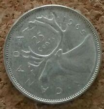 Canada 25 cent coin - silver Canadian quarter  -1965