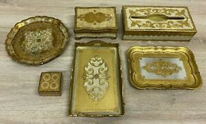 LOT OF 6 Florence Italy Gold wooden PLATES, JEWELERY+Tissue Box B144