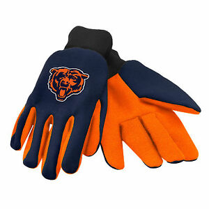 NFL Chicago Bears Colored Palm Utility Gloves Navy w/ Orange Palm by FOCO