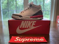 Nike Air Jordan 3 III Retro Katrina White Fire Red Cement 398614 116 Sz 4Y