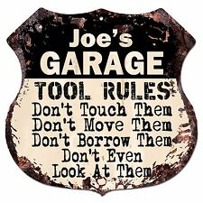BPG0051 JOE'S GARAGE RULES Rustic Shield Sign Man Cave Decor Funny Gift