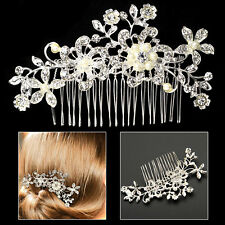 Flower Pearls Hair Comb Clip Bridal Wedding Diamante Crystal Rhinestone Silver
