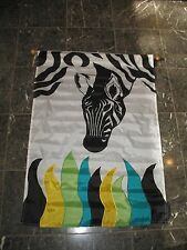 "28x40 Embroidered Sewn Zebra Grass Appliqued Nylon Garden Flag 28""x40"""