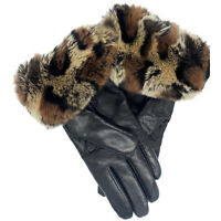 Women's Sheepskin Leather Winter Gloves with Rabbit Fur & Cashmere Lining
