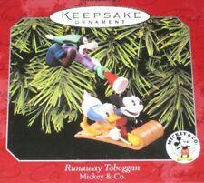 Runaway Toboggan Mickey & Co Hallmark Keepsake Ornament Set Of 2 1998