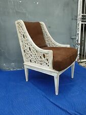 AMAZING HOLLYWOOD REGENCY MULTI CUTOUT OVAL KELLY WEARSTLER STYLE ARM CHAIR