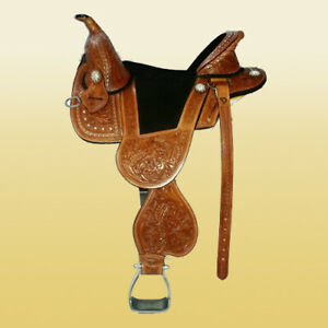 "Western leather treeless saddle 16"" on eco leather buffalo chestnut color."