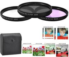 62mm 3Pc Filter Kit (UV CPL FLD) for Sony FDR-AX700 FDR-AX100 HDR-CX900
