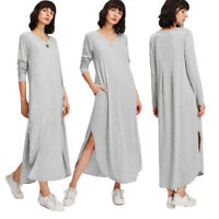 Women Long Sleeve T-Shirt Dress Casual Ladies Round Neck Loose Irregular Dresses