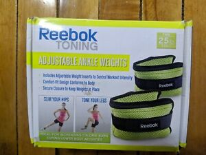 Reebok Toning Adjustable Ankle Weights 2 2.5 lb pounds Each Workout Tone Legs