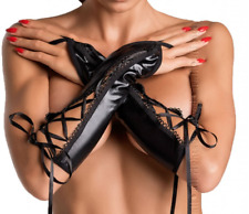 SALE Ladies Sexy Laced Wet-Look Gloves