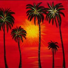 """Palm Trees Oil Painting 24"""" X 24"""" Canvas Artist Caroline Courtney Commissioned"""