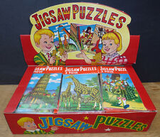 """VINTAGE """"MADE IN JAPAN"""" Shop Display Box of 144 puzzle Gibsons - 6 diversi puzzle"""