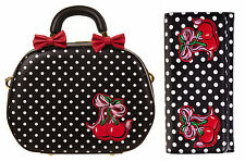 Banned 50s Rockabilly Polka Dot Bow & Cherry Handbag & Wallet Gift Set Black Red