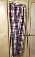Mens Britches Great Outdoors Golf Madras Plaid Pants Size 33Wx32L Pleated front