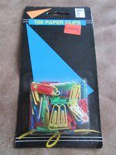 Vintage Venture Brand 100 PLASTIC COLORED PAPER CLIPS in ORIGINAL PACKAGING!