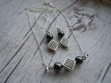 Celtic Necklace Earrings Set, Hematite, Swarovski Crystal, Scottish Jewelry