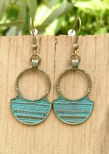 Boho Bronze Circle Earrings with Tribal Aztec Pattern + Gift Pouch