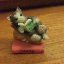"""Calico Kittens """"Catalogue"""" Reading Cat Figurine 1998 Priscilla Hillman"""