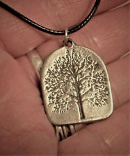 """ENGRAVED PEWTER SACRED TREE OF LIFE PENDANT~NORSE PAGAN WICCAN~18-20"""" CORD"""