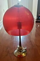 VINTAGE RED GLOBE TABLE LAMP – RED GLOBE WITH CHROME LAMP BASE – 1970s