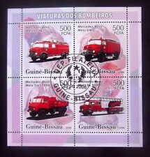 Guinea Bissau-2006-Mercedes Fire Trucks Minisheet-Used
