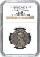 Swiss 1920 Silver Shooting Medal Mintage-150 Aargau Zofingen R-37b NGC MS63