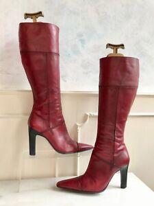 BRONX Red Brazilian Leather Knee High Zip Elegant Heeled Boho Boots Size 6 EU 39