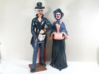 Dickens Style Christmas Carolers Figures Concertina Vintage Ceramic Set of 2