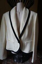 New Ralph Lauren jacket 10 blazer linen ivory black beige Nordstrom M L 8 12