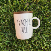 RAE DUNN TEACHER FUEL MUG Yellow Interior  Wooden Coaster Lid TEACHER MUG NEW
