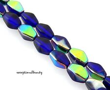 50 Preciosa Czech Bohemian Glass 9mm Cobalt Vitrail Bicone Double Cone Beads