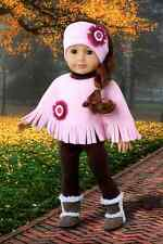 """Pink Poncho - Doll Clothes for 18"""" American Girl, Leggings Sherpa Boots Headband"""