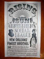 """(309L) OLD WEST BROTHEL RISING SUN LOUISIANA NEW ORLEANS POSTER 11""""x17"""""""