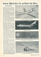 1953 Aviation Article Paris Air Show Sncase Trident Baroudeur Airplane Copter