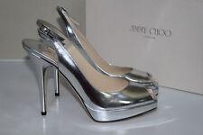 New 9.5 39.5 Jimmy Choo Clue Silver Metallic Slingback Pump Platform Sandal Shoe
