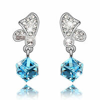 18k white gold gp made with SWAROVSKI crystal blue stud drop dangle earrings