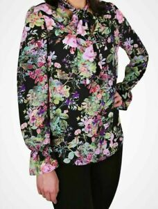 John Zack  Pussybow Tie V Neck   Blouse Shirt  Top  Floral