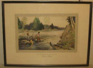 Rare Vintage RALPH BOYER 'An Anxious Moment - SALMON FISHING' Aquatint Etching