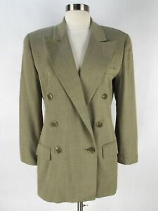 Linda Allard Ellen Tracy 100% Wool Blazer 2P 2 Petite Long Beige Herringbone
