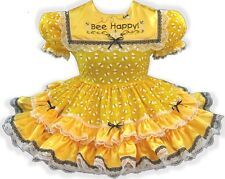 "41.5"" BEE HAPPY! Yellow SATIN Bees Adult Little Girl Baby Sissy Dress LEANNE"
