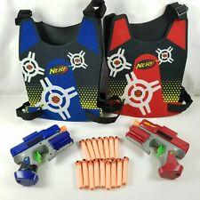 Nerf Crossfire Sidearm Pistol + Vests - Revolver Dart Tag Gun Strikefire