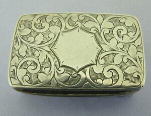 Antique Victorian Solid Sterling Silver Snuff Trinket Box Bir 1899