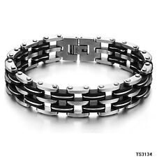 High Quality Mens Silica Gel 316L Stainless Steel Chain Bracelet Perfect Gift