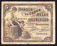 Belgian Congo 5 Francs 1920  P-4A