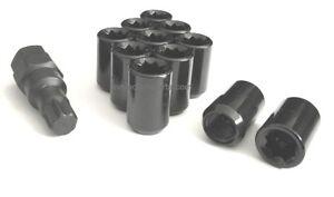 10- 14x1.5 TUNER LUG NUTS 8 POINT BLACK WHEEL LOCK MOST CHEVROLET GMC FORD TRUCK