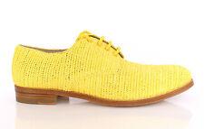 NWT £500 DOLCE & GABBANA Yellow Raffia Woven Oxfords Broques Shoes EU38.5/UK5.5