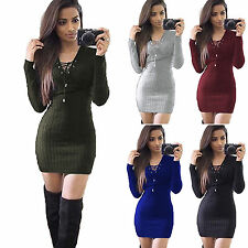 Women Sweater Jumper Mini Dress Ribbed Knitted Bodycon Party Casual Sweatdress