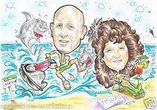 A3 Couple hand drawn caricature from photo cartoon drawing great novelty present